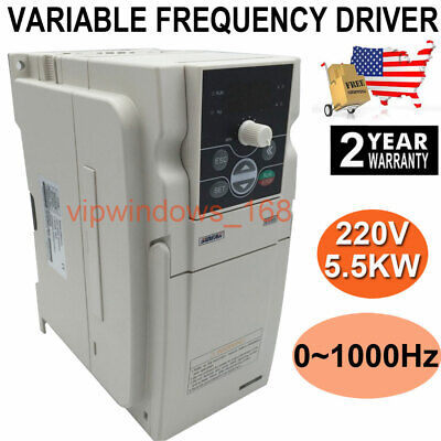 US Ship!5.5KW 7.5HP VFD Inverter Variable Frequency Driver 3ph 220V 0~1000HZ 24A