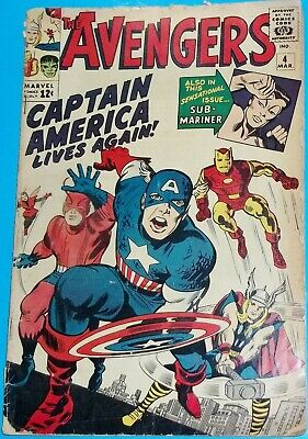 1964 The Avengers #4 - 1St Silver Age Appearance Of Captain America Comic Book