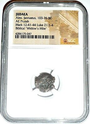 2000 Year Old Widows Mite Judean Lepton Of Alex Janeaus Coin, NGC Certified