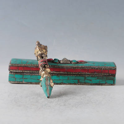 Old Tibetan Koradji Copper&Turquoise Pestle Vajra Exorcism Magic With A Box
