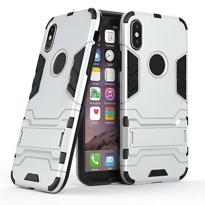 Slim Hybrid Hard Dual Layer PC Armor Stand Shockproof Case Cover For iPhone X