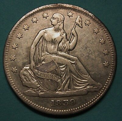 Attractive 1839 No Drapery Silver Seated Liberty Half Dollar Grading XF       j7