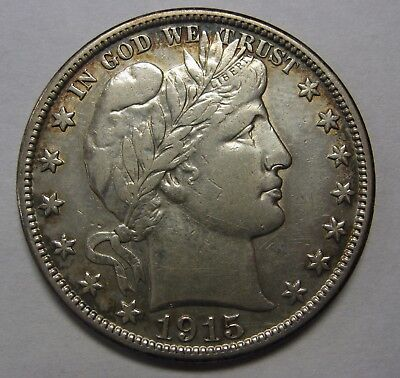 1915-D Silver Barber Half Dollar Grading AU Cleaned As Pictured  g9666