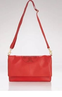 5fcc824cd4c6 NWT  395 TORY Burch Kipp Foldover leather messenger bag in Tory red ...