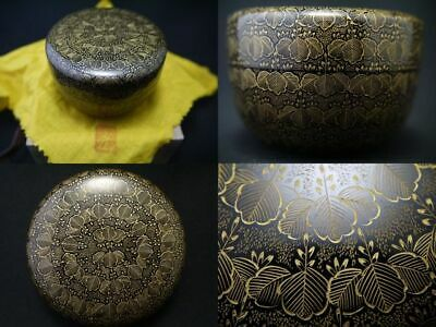 Japan WAJIMA Lacquer Wooden Tea caddy PAULOWNIA design in Chinkin Natsume  (204)