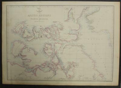 Canada Greenland North America Arctic Lands 1863 Weller Antique Lithographic Map