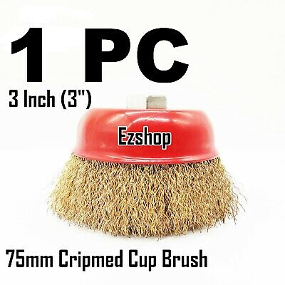 """3"""" Crimp Wire Cup Wire Brush 5/8"""" X 11 NPT Fits Most Angle grinders"""