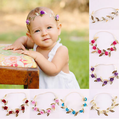 New Baby Girls Toddler Kids Elastic Leaf Flower Hair Band Headband Headwear