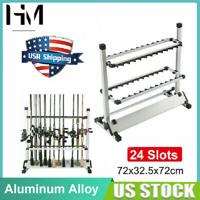 Portable Fishing 24 Rods Wall Rack Pole Holder Aluminum Alloy Stand Storage Tool