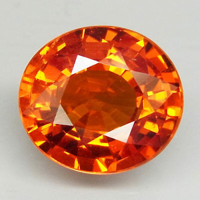 3.19ct.100%Natural Orange Mandarin Spessartite Garnet 9x8mm.AAA Unheated Blazing