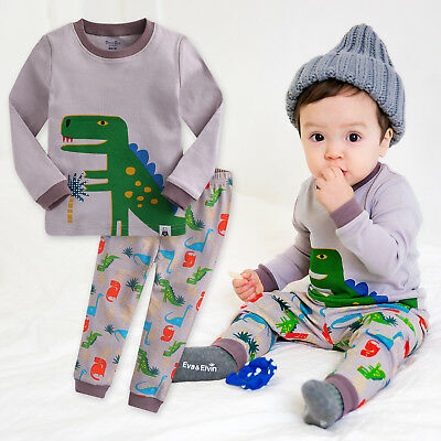 "Vaenait Baby Toddler Boys Clothes Sleepwear Pyjama ""Dino King Grey"" M(3T)"