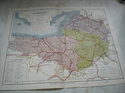 """A Circa 1884 Letts Son & Co. Ltd Map Of SOMERSET - Measures 17 1/2"""" X 14 1/4"""" Ap"""