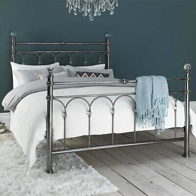 Metal Bed Frame Bentley Cristina Antique Nickel Finish, 4ft Double 5ft King Size