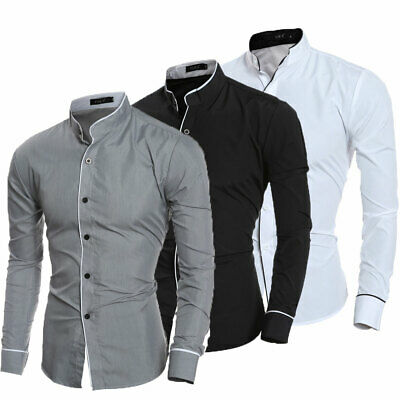 Men's Luxury Formal Shirt Long Sleeve Slim Fit Business Dress Shirts Top Casual