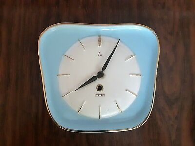 Rare Vintage Peter Blue and White Ceramic Winding Wall Clock. Made in Germany