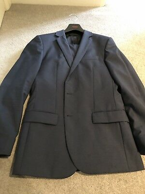 HUGO BOSS RED LABEL 'Amaro/Heise' Blue Wool 2 Button Suit Size 46/36R RRP $1295