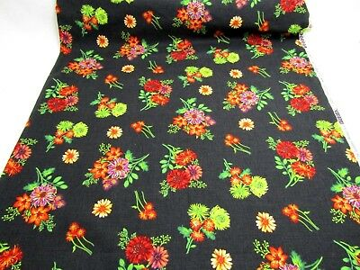 Cotton Quilting Fabric Autumn Abundance Jennifer Brinley Mums Sunflowers BTHY