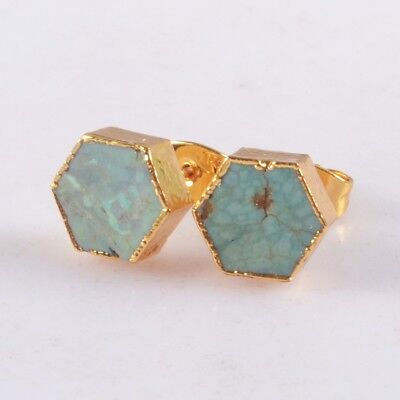8mm Hexagon Natural Genuine Turquoise Stud Earrings Gold Plated T060604