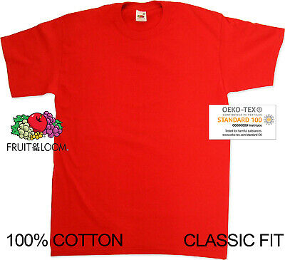 Fruit Of The Loom Red 100% Cotton Blank Mens Unisex Value/heavy/ss Tshirt