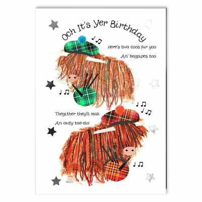 Embroidered Originals Highland Coos With Bagpipes Birthday Card BD143