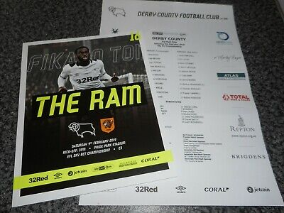 DERBY COUNTY  v  HULL CITY  2018/19  FEB  9th MINT   + *FREE COLOUR TEAM SHEET*
