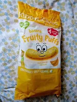 Brand New 'Kiddylicious Fruity Puffs'  4 x 10 g Bags Multipack