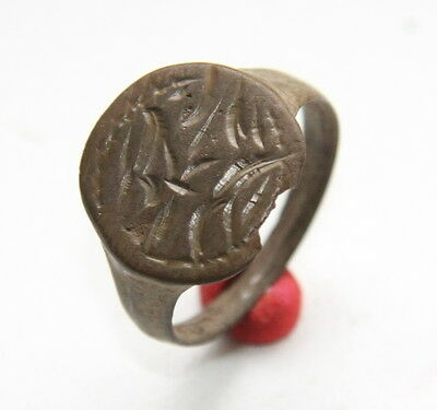 Ancient Bronze Pseudo-Heraldry Seal Finger Ring (NBR55)