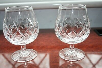 "2 Edinburgh Crystal ""lomond"" Brandy Glasses, Signed, Superb Condition 5"" Tall"