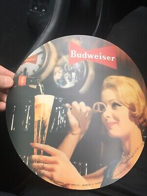 Budweiser Rotating Clock Reproduction Graphic 9.125 inch Circle