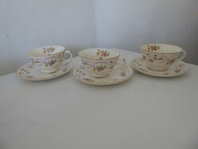 Set of 3 Pope-Gosser Sterling # 40 China Tea Coffee Cup & Saucer Sets