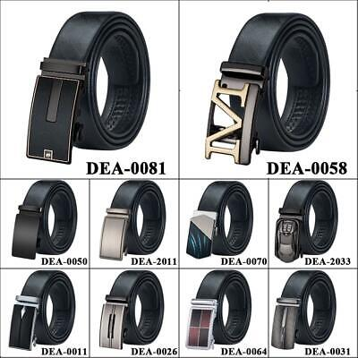 UK Black Genuine Leather Mens Belts Fashion Ratchet Buckles Dress Jeans Belt