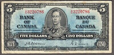1937 Bank of Canada - $5.00  Fine/VF Bank Note - Osborne Towers - A/C 3220786