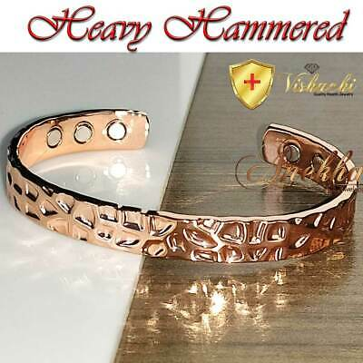 Xclnt Shiny Heavy Hammered Solid Pure Copper Magnetic Bracelet Arthritis Cb68