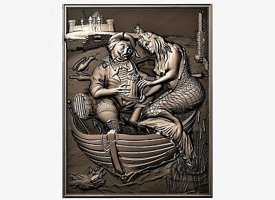 Pirate and mermaid relief 3d model relief for cnc in STL file format
