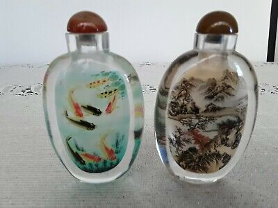 Large Pair Of Chinese Reverse Painted Vintage Snuff / Scent Bottles