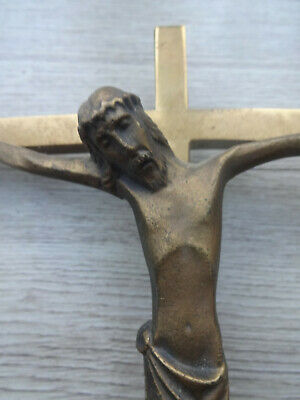 EXPRESSIONIST! GREAT work of SACRED ART! VTG German crucifix Bronze on brass