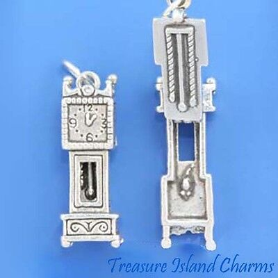 Grandfather Clock Movable With Mouse 3D .925 Solid Sterling Silver Charm Opens