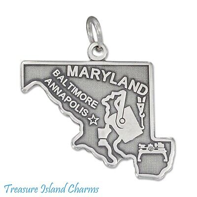 Maryland State Map Baltimore Annapolis .925 Solid Sterling Silver Charm Pendant