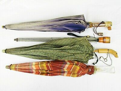 Bakelite Pieces Lot of 4 Umbrellas Vintage Carved Authentic | For Parts