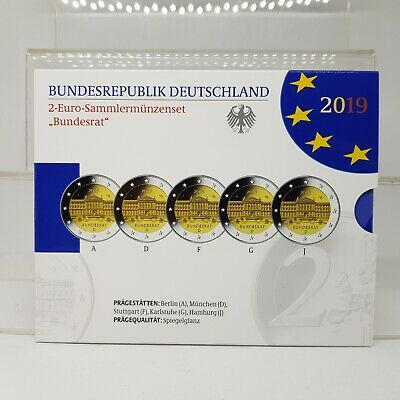 Alemania 5 X 2 Euros 2019 - Bundesrat - Proof - En Cartera