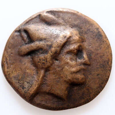 Very Interest Uncertain Ancient Greek coin AE , 11.09gr , 27mm