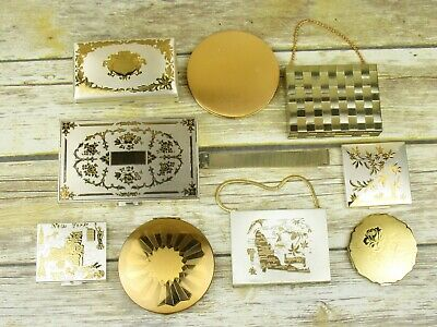 Vintage Makeup Powder Mirror Compact Lot of 9 Two-Tone Gold & Silver Color