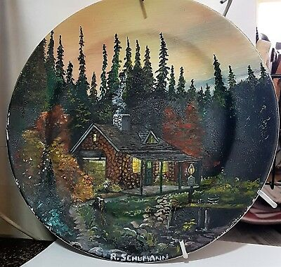 Oil Painting Grimwades Plate. Fall Cabin In The Woods. Very Detailed R.Schumann