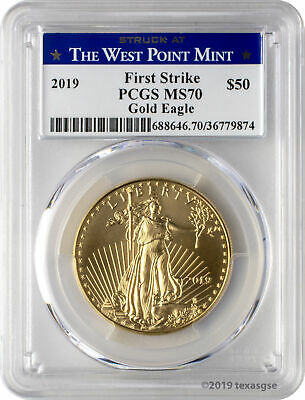 2019 $50 Gold Eagle PCGS MS70 First Strike - West Point Label