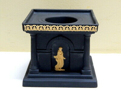 "Rare Vintage Wedgwood Library Collection Black Jasperware ""Temple"" Candle Holder"