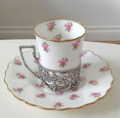 Antique Aynsley Roses Coffee Can Cup & Saucer Hallmarked Sterling Silver Holder