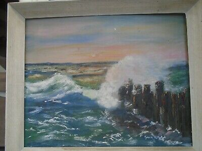 large Seascape oil on Rathbone board painting  signed by artist  Grace M Rolph