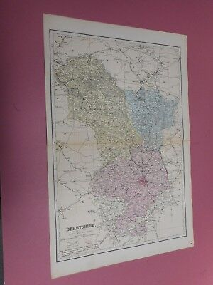 100% Original Large Derbyshire Map  By G Bacon C1896 Railways