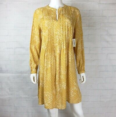 f614862515a NWT Old Navy Size Large Pintuck Swing Dress Long Sleeve Yellow White Floral