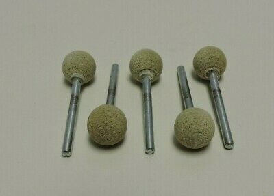 "5 (pieces) NORTON ABRASIVE MOUNTED POINT 1/2"" BALL DIA X 1/8"" SHANK 80 GRIT"